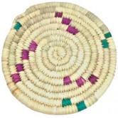 Dessous de plat rond dattier coloré
