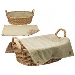 La Vannerie d'Aujourd'hui - Corbeille ovale avec couverture en tissu
