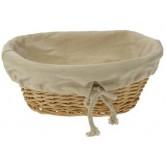 La Vannerie d'Aujourd'hui - Corbeille à pain en osier blanc avec tissu