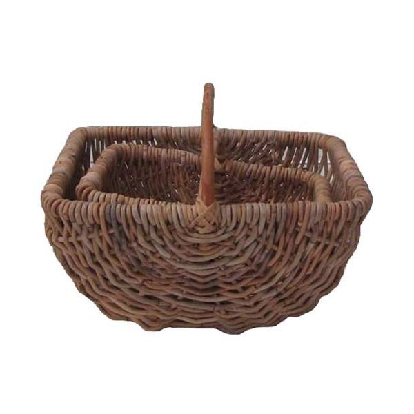 Panier bord rectangulaire rotin poelet gris la vannerie for Le rotin d aujourd hui