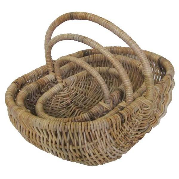 Panier ovale bas rotin poelet naturel la vannerie d for Le rotin d aujourd hui