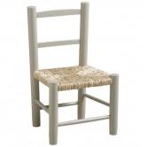 La Vannerie d'Aujourd'hui - Chaise grise pour enfant pas chère en bois et paille