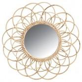 La Vannerie d'Aujourd'hui - Miroir en rotin design fleur grand modèle