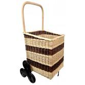 La Vannerie d'Aujourd'hui - Chariot à bois spécial escaliers en osier 2 tons, 6 roues