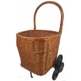 La Vannerie d'Aujourd'hui - Chariot à bois en osier sur 6 roues. Plusieurs formes et coloris disponibles