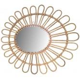 La Vannerie d'Aujourd'hui - Miroir en rotin design fleur
