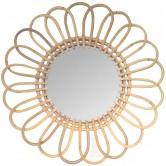 La Vannerie d'Aujourd'hui - Miroir design marguerite en rotin naturel