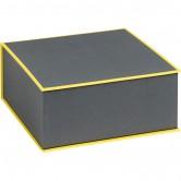 Coffret carré gris et jaune