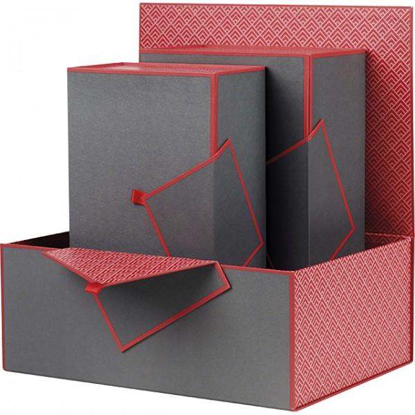 coffret rectangle gris et rouge. Black Bedroom Furniture Sets. Home Design Ideas