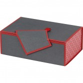 Coffret rectangle gris et rouge
