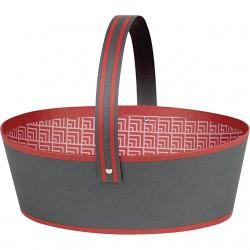 La Vannerie d'Aujourd'hui - Panier ovale gris et rouge