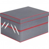 Coffret rectangle 3 compartiments gris et rouge