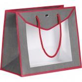 Sac en papier gris et rouge avec fenêtre PVC