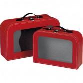 Valise rouge avec fenêtre PVC