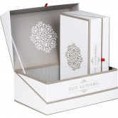 "Coffret rectangle ""Haute gastronomie"" blanc/taupe"