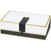 "Coffret rectangle ""Gourmet"" noir/blanc/or"