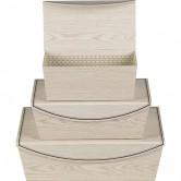 Coffret en carton rectangulaire beige effet bois