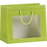 Sac en papier vert anis à fenêtre PVC