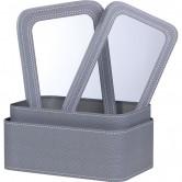 Coffret rectangle gris décor couture à fenêtre PVC