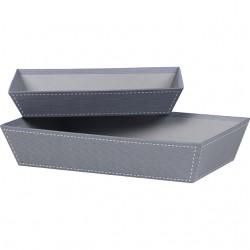 La Vannerie d'Aujourd'hui - Corbeille rectangle gris décor couture