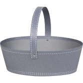 La Vannerie d'Aujourd'hui - Panier ovale gris décor surpiqûre