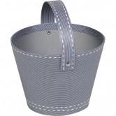 Panier rond gris décor couture