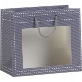 Sac en papier gris à fenêtre PVC
