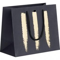 sac en papier noir impression or. Black Bedroom Furniture Sets. Home Design Ideas