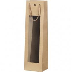 Sac en papier kraft bouteille à fenêtre PVC