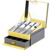 Coffret carré 2 étages avec tiroir gris/jaune