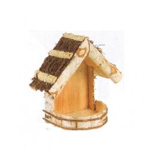La Vannerie d'Aujourd'hui - Mangeoire murale en bouleau, toit en brindilles, pour jardin, terrasse ou balcon