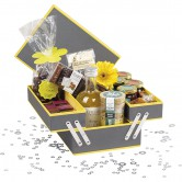 Coffret rectangle 3 compartiment gris/jaune