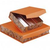 Coffret carré rangées orange/rosaces