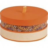 La Vannerie d'Aujourd'hui - Coffret en carton rond orange/rosaces