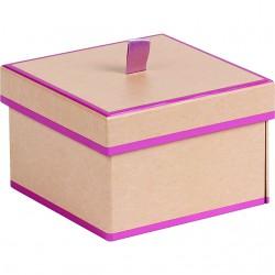 Coffret carré 2 étages kraft/rose