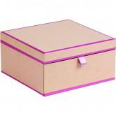 Coffret carré 2 étages avec tiroir kraft/rose