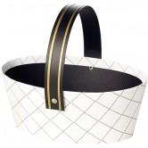 Panier ovale blanc/noir/or