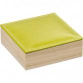 La Vannerie d'Aujourd'hui - Coffret carré, couvercle simili cuir vert