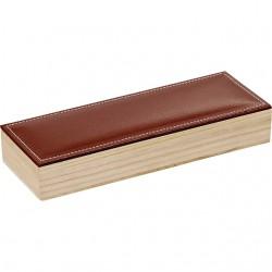 Coffret rectangle à 2 rangées avec couvercle en simili cuir marron