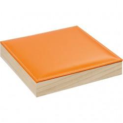Coffret carré à rangées avec couvercle en simili cuir orange