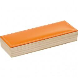 Coffret rectangle à 2 rangées avec couvercle en simili cuir