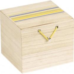 Coffret rectangle à rayures jaune/gris