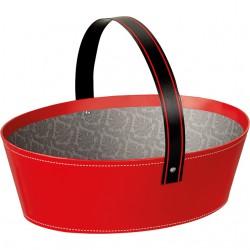 Panier ovale rouge/noir