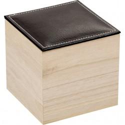 Coffret carré avec couvercle en simili cuir noir