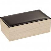 Coffret rectangle avec couvercle en simili cuir noir