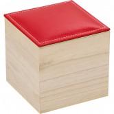 Coffret carré avec couvercle en simili cuir rouge