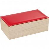 Coffret rectangle avec couvercle en simili cuir rouge