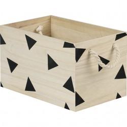 La Vannerie d'Aujourd'hui - Caisse motifs triangles noir avec poignées