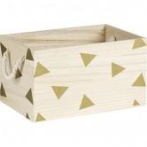 La Vannerie d'Aujourd'hui - Caisse motifs triangles or avec poignées