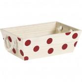 Corbeille rectangle motifs pois rouge avec poignées corde